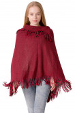2019 Fashion Burgundy Women's Cape Cloak Knitted Poncho With Fringed Hem