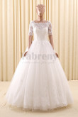 2019 Fashion A-Line Short Sleeves Lace Simple Wedding Gown wd-022