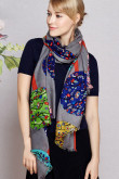 2019 Fashion Spring or autumn high-end Gray prints woolen scarf for women's big shawl