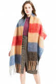Women's Scarves Tassel Scarf Contrast Color Winter Long Shawl Oversized