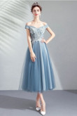 2020 Sky Blue lace Homecoming Dresses Off the Shoulder Mid-Calf prom dress TSJY-043