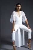 2019 New Style White Lace Bridal Jumpsuit With Batwing sleeve so-147