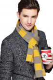 2019 Fashion Gold and Gray wool plaid high-end Men's scarf for autumn and winter