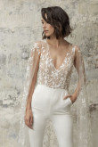 2021 Deep V-Neck Wedding Lace Jumpsuits Bride Dress With Brush Train so-241