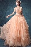 2020 Multilayer Pink Champagne Prom Dresses Hand Beading Evening Dresses TSJY-117