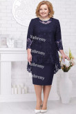 2 PC Plus Size Women's Outfis Dark Navy  Knee-Length Mother of the Bridal Dresses mps-367