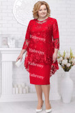 2 PC Plus Size Women's Outfis Red lace Knee-Length Mother of the Bridal Dresses mps-367-2
