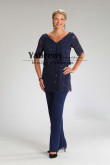 2PC Dark Navy Lace Women's Outfit Mother of the bride Pant Suits mps-486
