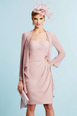 2PC Light pink Mother of the bride chiffon dress with jacket mps-380