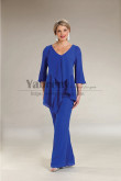 2PC Royal Blue Chiffon Mother of the bride Pant suits Women's Trousers Sets mps-481