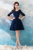 Above Knee prom dresses Dark Navy A-line Homecoming Dresses TSJY-055