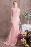 Blushing Pink Charmeuse Prom dresses With Delicate Hand beaded cape so-001