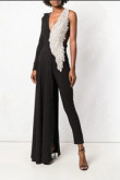 Black Bridal Jumpsuit Delicate Beaded Angel Wings dresses so-094