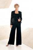 Black lace Three Piece mother of the bride pants sets mps-214