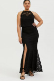 Black Plus Size Jewel Women's Dresses, Black lace Mother Of The Bride Dresses mps-401