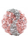 Blushing Pink Crystal Artificial Flowers Rose for Bride Bouquet for wedding