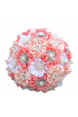 Blushing Pink Light Pink and white wedding bouquets for bride with Pearls