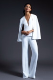 Bridal Deep B-neck Jumpsuit With Cape White  Wedding pantsuits so-103
