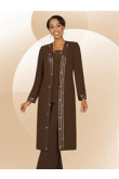 Brow three piece outfit mother's pant suits with long coat mps-245