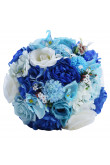 Bule and white Artificial Flowers for Beach wedding bride Bouquet