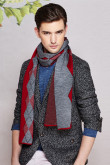 Diamond lattice British Wind Basulan Wool Autumn Winter Scarf Burgundy and Gray