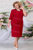 Burgundy Chiffon Mid-Calf Mother of the Groom Dresses Plus Size Women's Dress mps-463-1