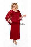 Burgundy Loose Women's Dresses Ankle-Length dress for Mother of the bride With Lace Cape mps-502-1