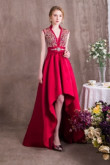 Burgundy Delicate Beaded Satin Gown Asymmetry Prom dresses so-002