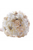 Champagne and Ivory Artificial wedding bouquets for bride with Bead string