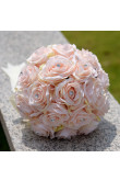 Champagne Artificial Flowers Rose for Bride Bouquet with Crystal