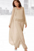 Champagne mother of the bride pants set with long coat Three Piece mps-159