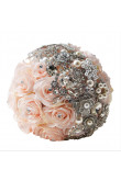 Champagne wedding bouquets for bride and bridesmaids with pearls and Crystal