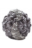 Charcoal Crystal Artificial Flowers Rose for Bridesmaid Bouquet for wedding