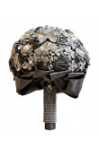 Charcoal Elegant bride bouquets for Cathedral Wedding with Pearls Glass Drill and Crystal