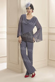 Charcoal Gray mother of the bride Pants suit Modern Women's outfits mps-296