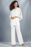 Chiffon Beach Mother of the bride Pant suit White wedding Trouser outfit mps-092