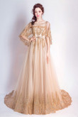 Classic Champagne Hand Beading Prom Dresses Elegant Brush Train Evening Dresses With Cape TSJY-126