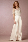 Classic Ivory Satin Bridal Jumpsuit dresses with Cape so-080