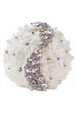 Hand Beading ivory Artificial Flowers Rose for Bride holding flowers