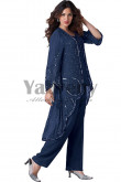 Dark Navy Hand beading Mother of the bride pants suit women's outfit mps-069
