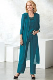 Dark green Mother of the bride pantsuit Layered dress with Long coat mps-103