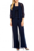 Dark navy Chiffon 3 Pieces Mother of the bride with jacket mps-127
