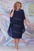 Dark Navy Chiffon Mother Of The Bride Dress, Plus Size Tea-Length Women's Dresses mps-447-2