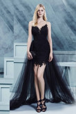 Dark Navy Glamorous Evening Dresses Sweetheart Sweep Train Prom Dresses TSJY-113