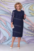 Dark Navy Lace Knee-Length Mother of the Bride Dresses Plus Size Women's Dress mps-468-3