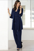 Dark Navy Mother of the bride pant suit Custom-made Plus size mps-100