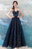 Dark Navy Sequined Fabrics Prom Dresses lace A-line Evening Dresses TSJY-158