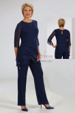 Dark Navy two Piece Mother of the bride Pant Suits Dresses with Elastic Waist Women's pants Outfit mps-445