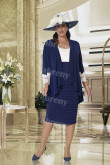 Dark navyKnee-Length Mother of the bride dress with jacket Plus size 2PC women's outfits mps-351
