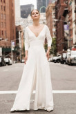 Deep V-neck Bridal Jumpsuit Modern Wedding Culottes so-112